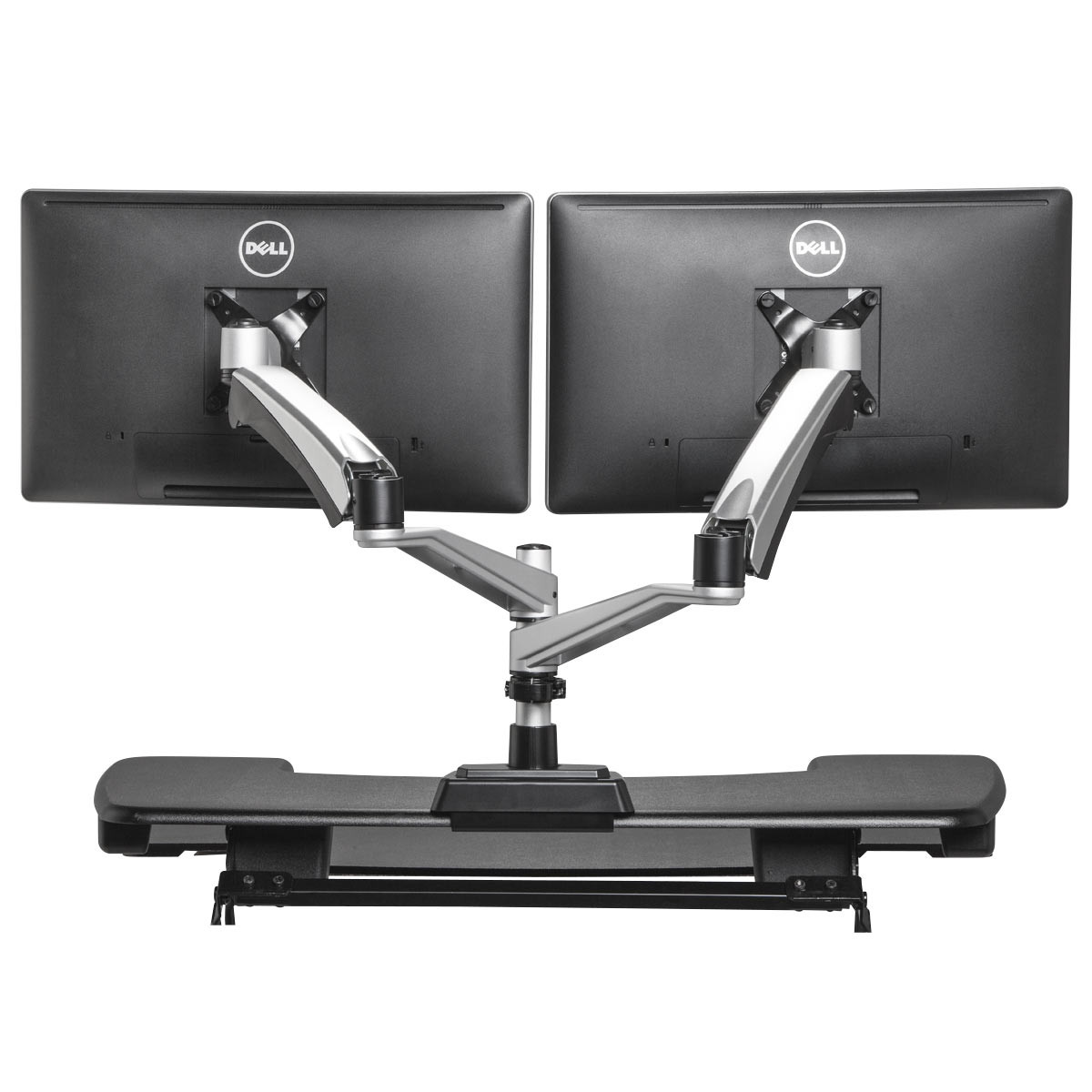 dual monitor arm adjustable standing desks varidesk. Black Bedroom Furniture Sets. Home Design Ideas